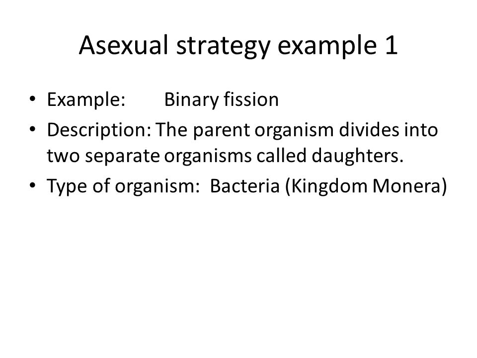 Define asexual in bacteria