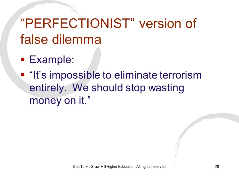 what is perfectionist fallacy