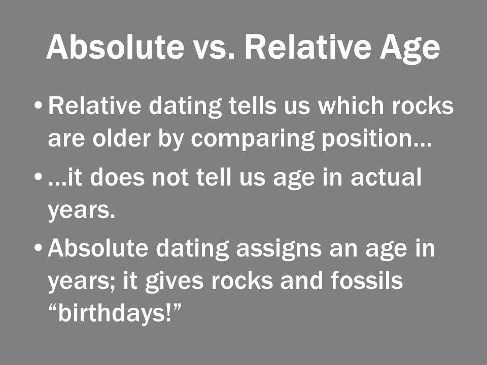 Absolute age of a rock and the difference between relative dating and relative and, on the.