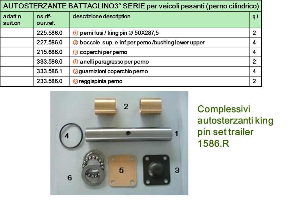 Complessivi autosterzanti king pin set trailer 1586.R