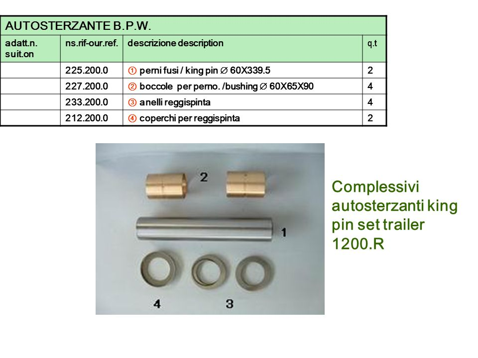 Complessivi autosterzanti king pin set trailer 1200.R