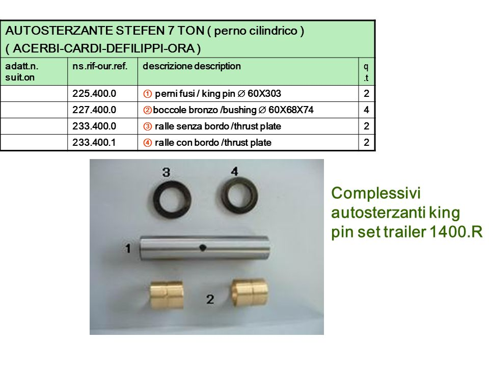 Complessivi autosterzanti king pin set trailer 1400.R