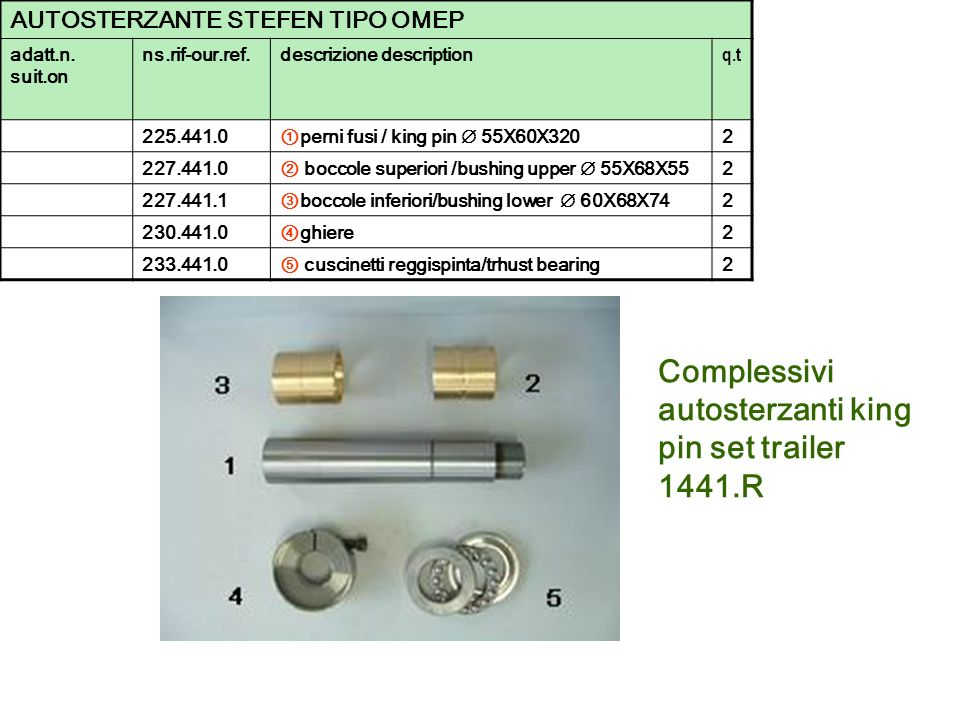 Complessivi autosterzanti king pin set trailer 1441.R