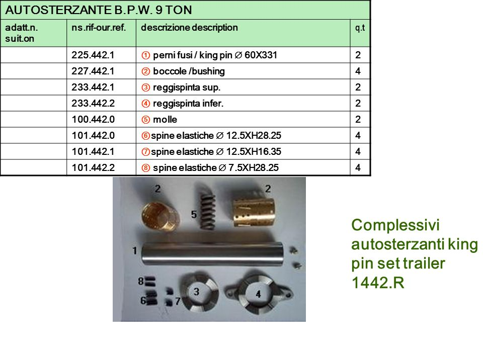 Complessivi autosterzanti king pin set trailer 1442.R