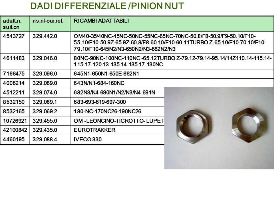 DADI DIFFERENZIALE /PINION NUT