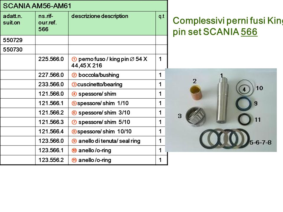 Complessivi perni fusi King pin set SCANIA 566