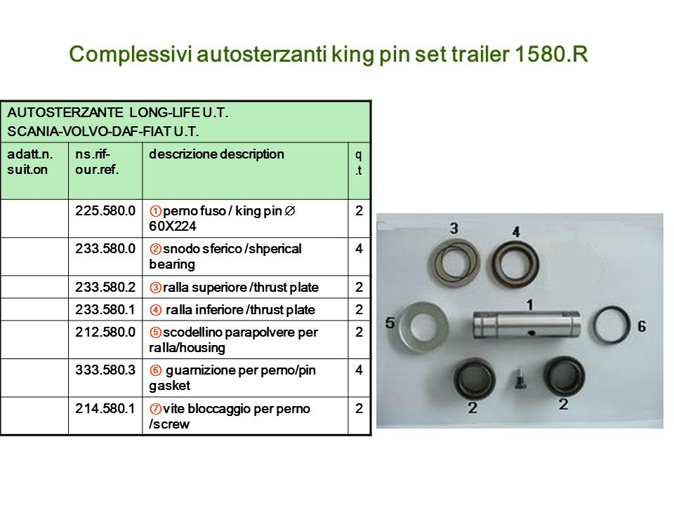 Complessivi autosterzanti king pin set trailer 1580.R