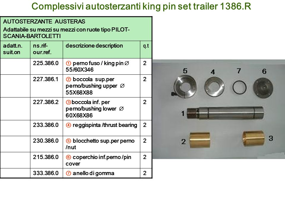 Complessivi autosterzanti king pin set trailer 1386.R