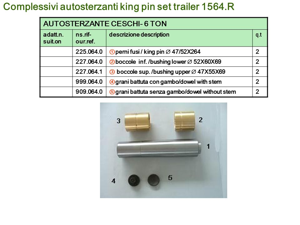 Complessivi autosterzanti king pin set trailer 1564.R