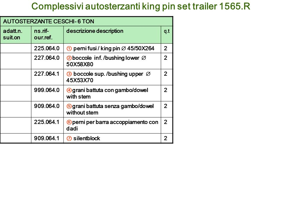 Complessivi autosterzanti king pin set trailer 1565.R