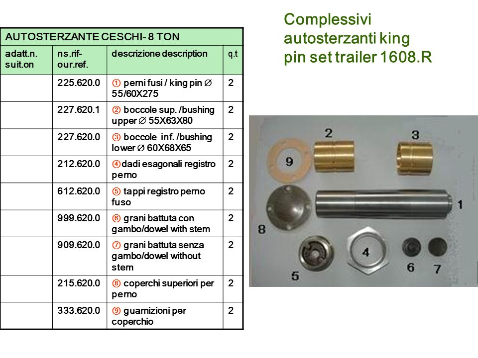 Complessivi autosterzanti king pin set trailer 1608.R