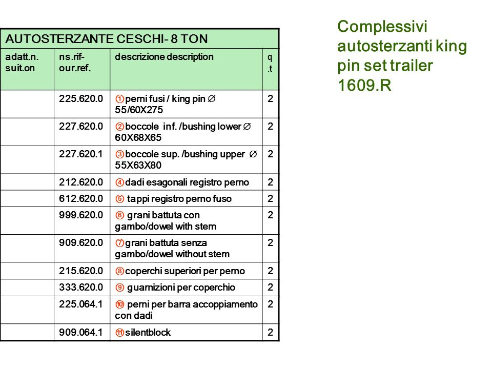 Complessivi autosterzanti king pin set trailer 1609.R