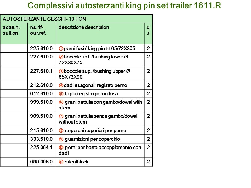 Complessivi autosterzanti king pin set trailer 1611.R