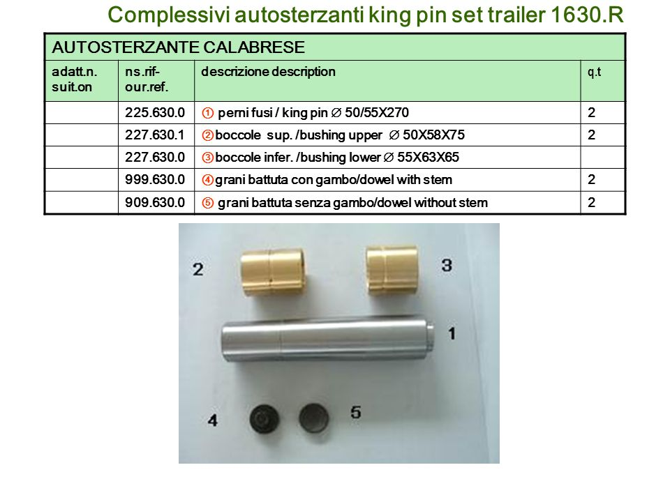 Complessivi autosterzanti king pin set trailer 1630.R