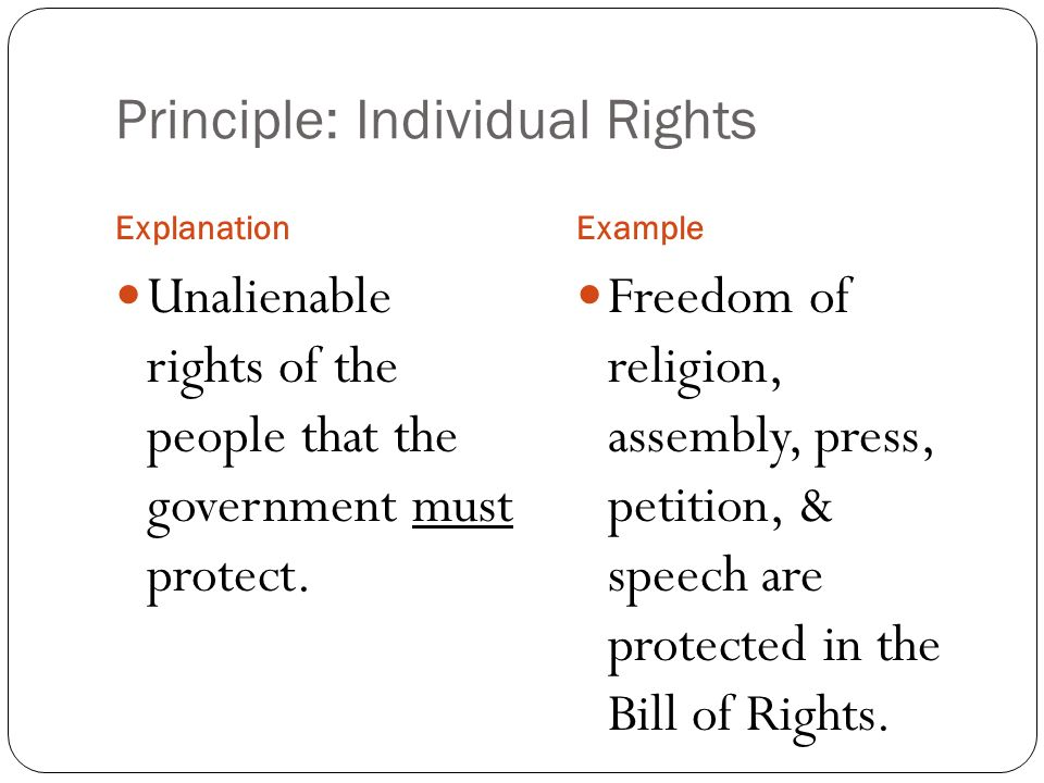 constitutional principles individual rights essay The amendments to the constitution that congress proposed in 1791 were strongly influenced by state declarations of rights, particularly the virginia declaration of rights of 1776, which incorporated a number of the protections of the 1689 english bill of rights and magna carta.