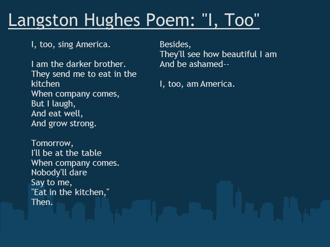 Langston Hughes Poem: I, Too