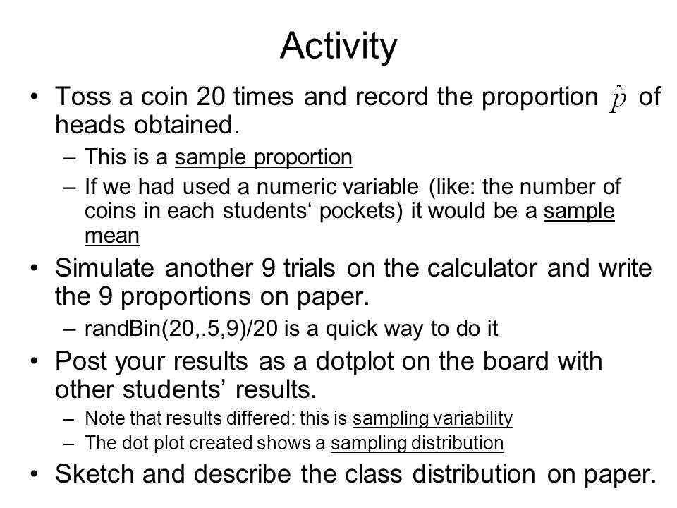 sampling distribution activity answers