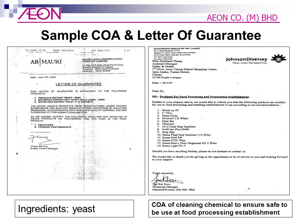 Letter Of Guarantee Food Safety