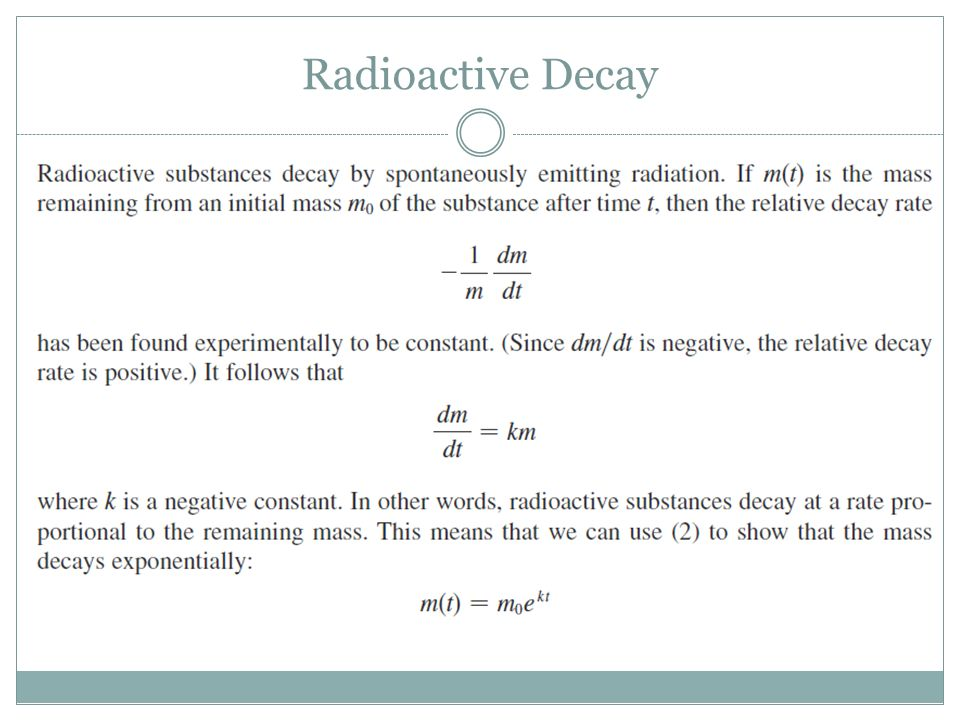 Radioactive decay differential equation