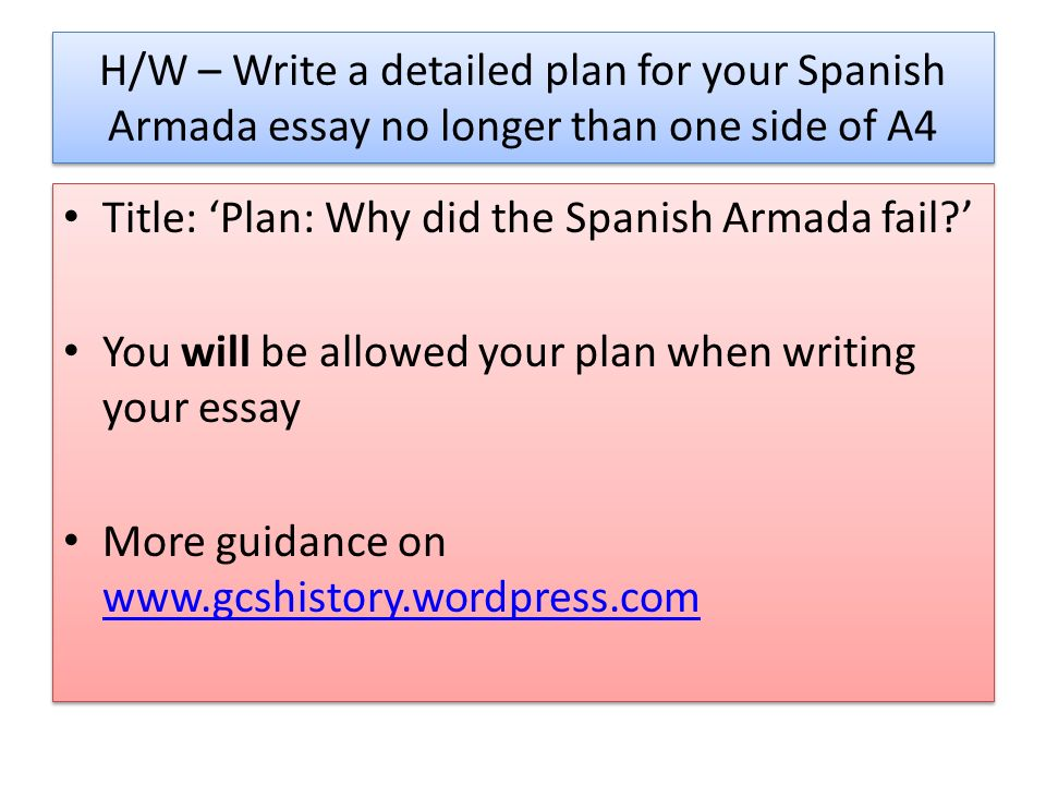 Examples Of Essays For High School Hw  Write A Detailed Plan For Your Spanish Armada Essay No Longer Than Topics English Essay also Gay Marriage Essay Thesis The Spanish Armada Lo How Do We Write A Good Essay  Ppt Video  Example Of An Essay Proposal