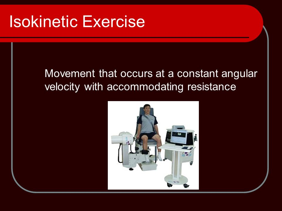 Accommodating resistance machines isokinetic