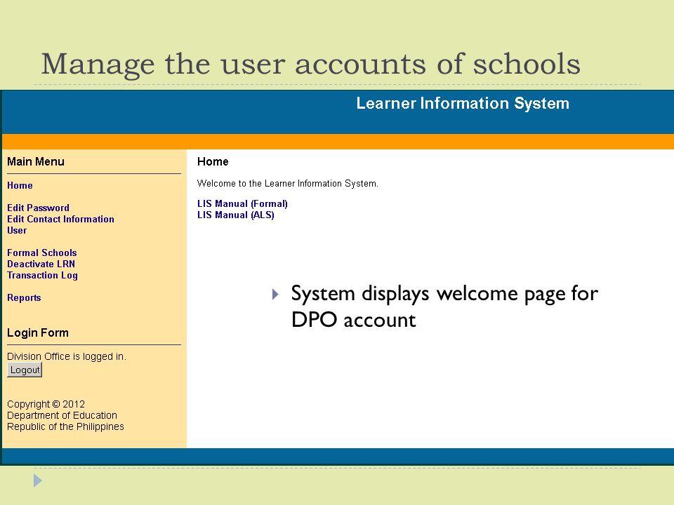 Deped learner information system (lis) user's guide.