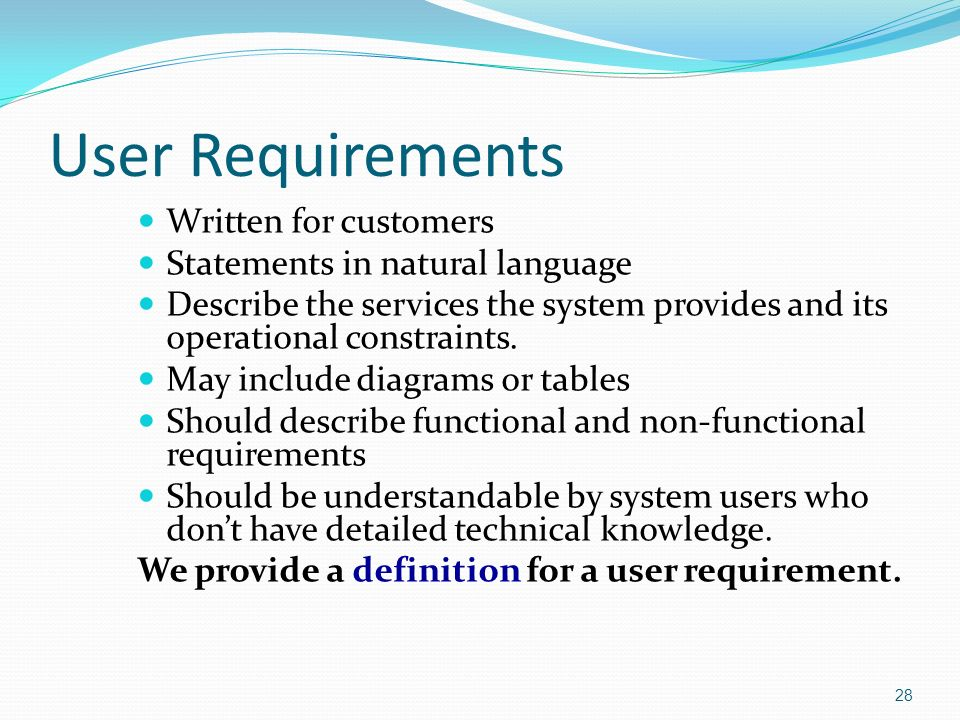 Chapter Software Requirements Ppt Download - User requirements