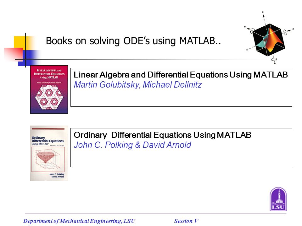 Mathematical Applications using MATLAB (Cont… ) - ppt download