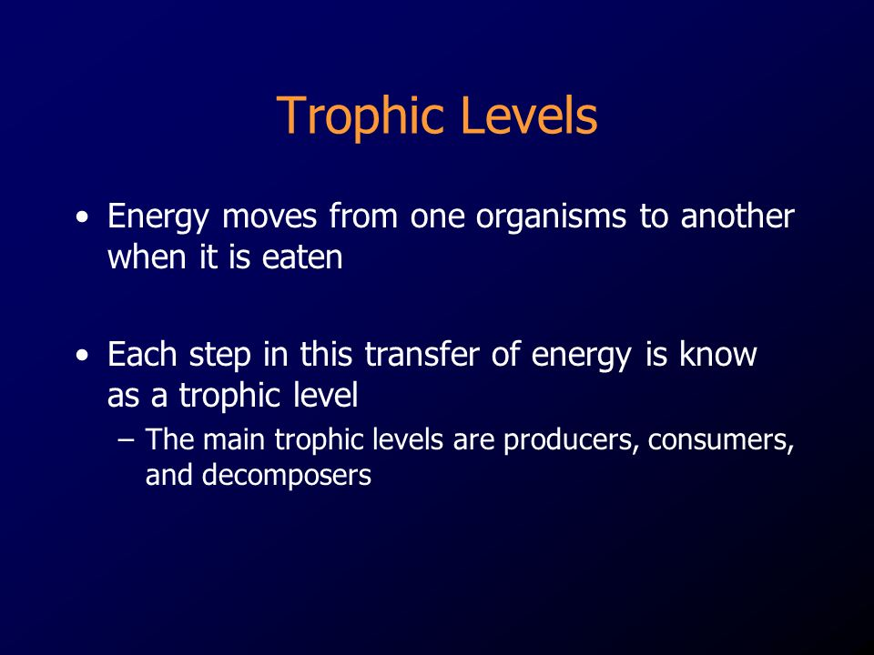 Trophic Levels Energy moves from one organisms to another when it is eaten. Each step in this transfer of energy is know as a trophic level.