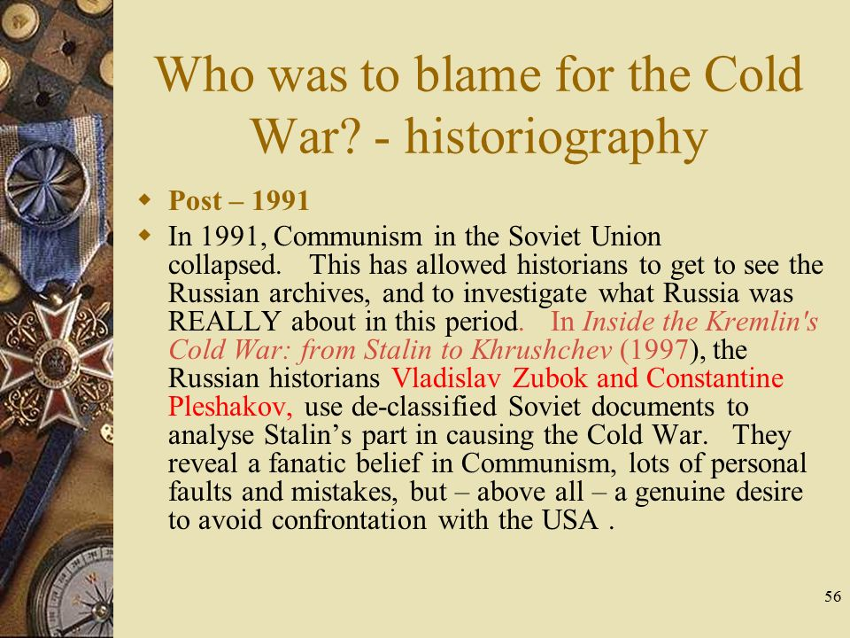 Who is to blame for the cold war essay
