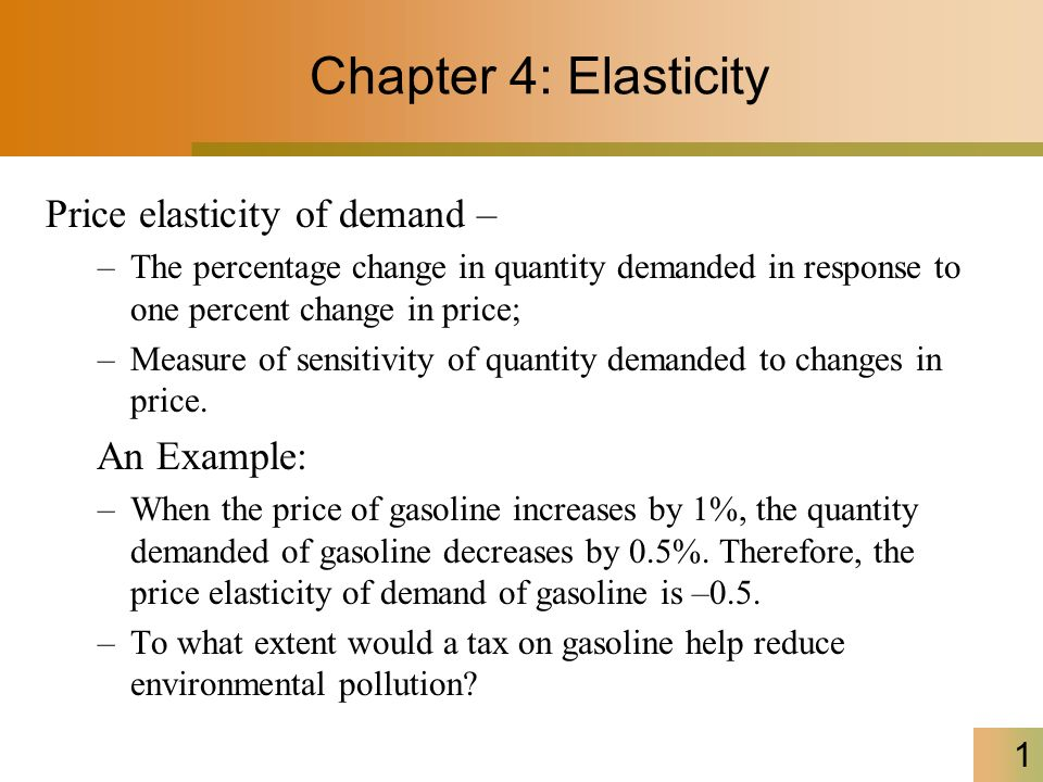 Chapter 4 Elasticity Price Elasticity Of Demand An Example Ppt