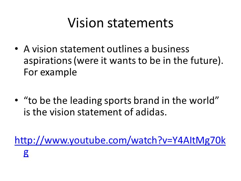 1.3 Organisational Objectives Mission / vision statements ...