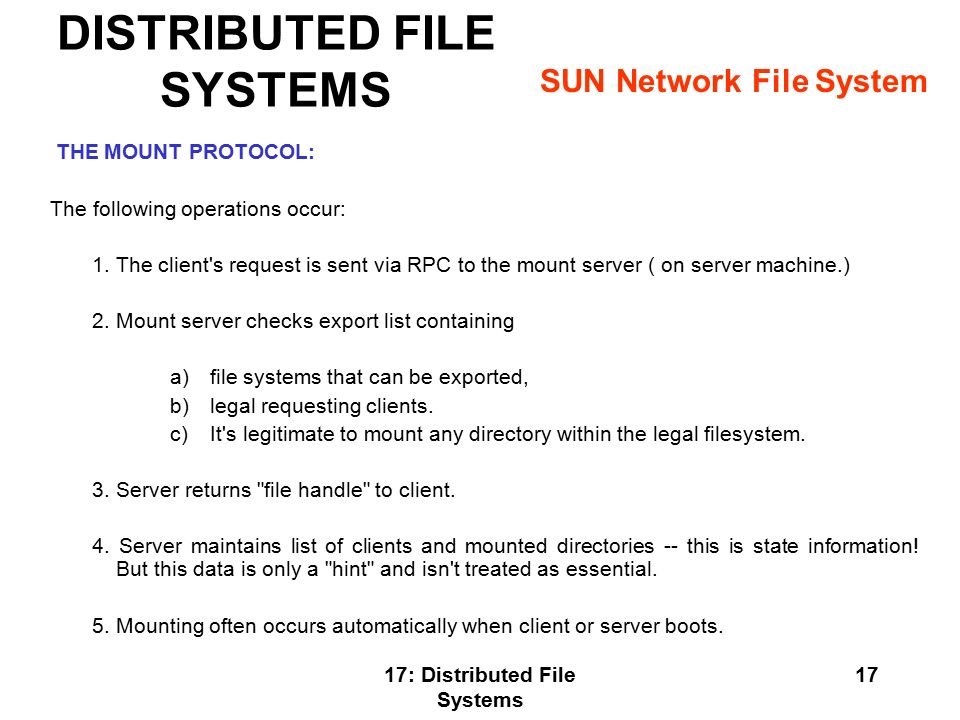 DISTRIBUTED FILE SYSTEMS - ppt video online download