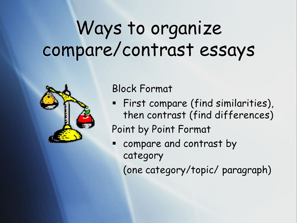 Science Topics For Essays Ways To Organize Comparecontrast Essays High School Sample Essay also English As A Second Language Essay Compare And Contrast Essays  Ppt Video Online Download How To Stay Healthy Essay