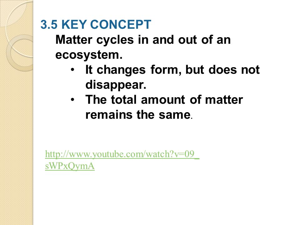 3.5 KEY CONCEPT Matter cycles in and out of an ecosystem.