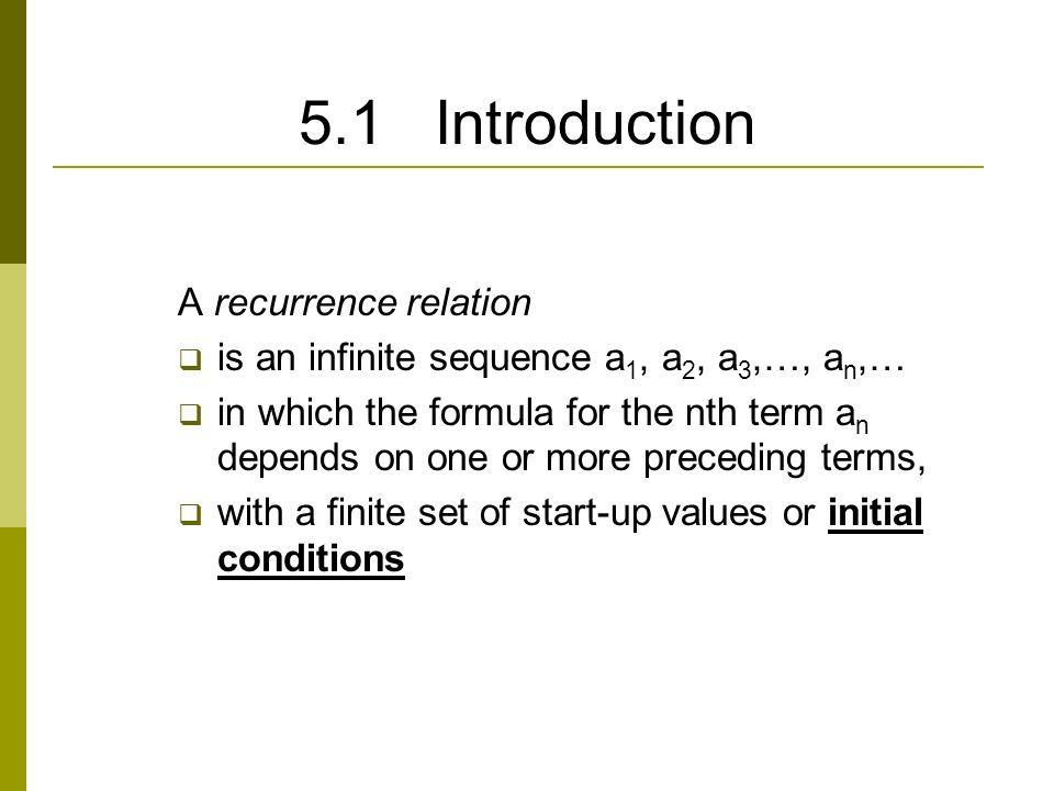 Recurrence relations.