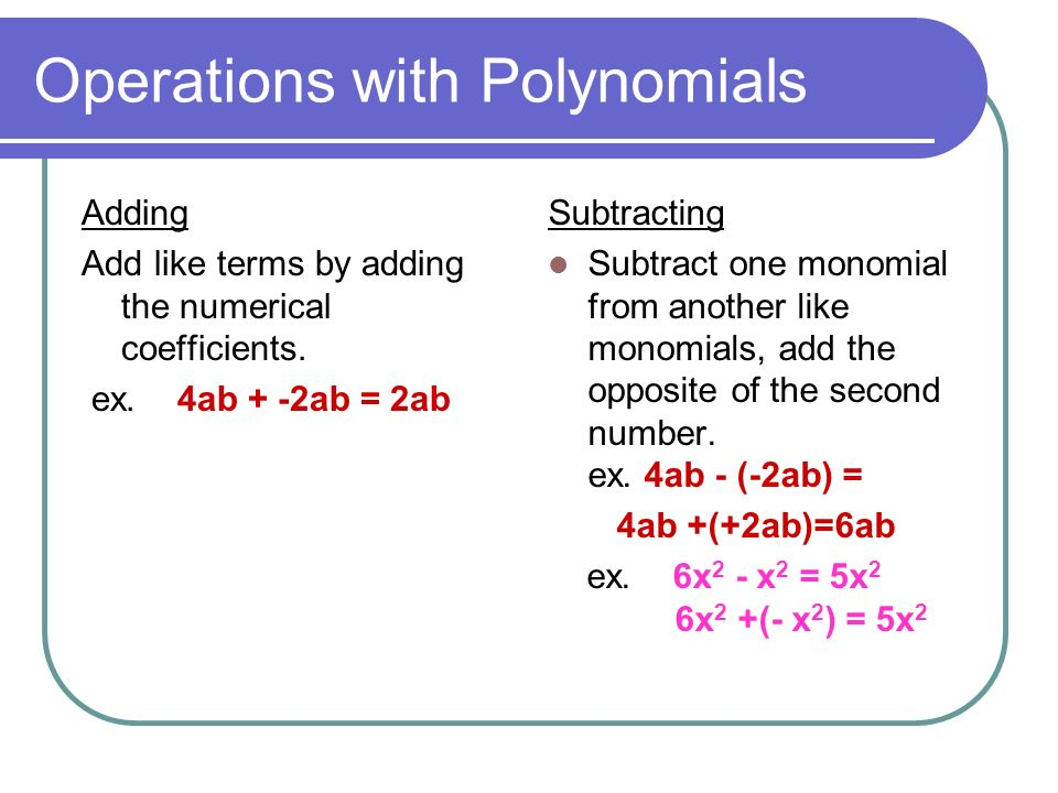 Polynomials And Polynomials Operations Ppt Video Online Download