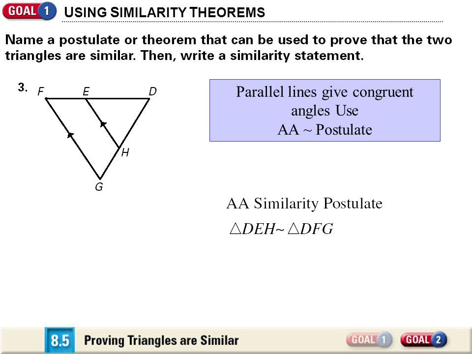 Section 85 Proving Triangles Are Similar Ppt Video Online Download