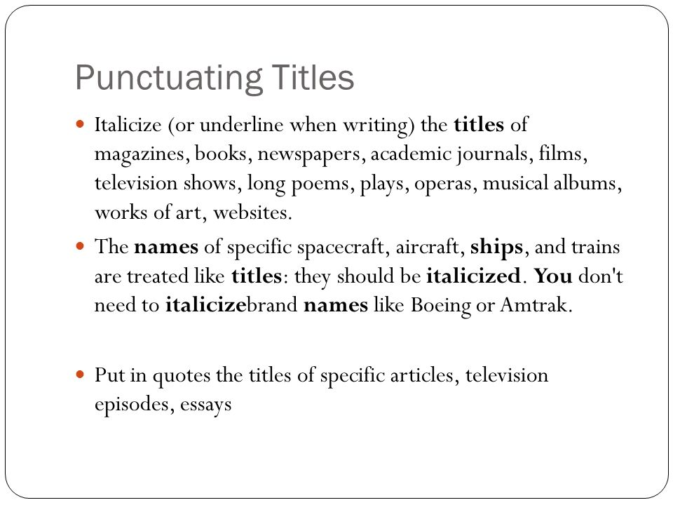 Capitalization  Punctuating Titles  Ppt Download Punctuating Titles