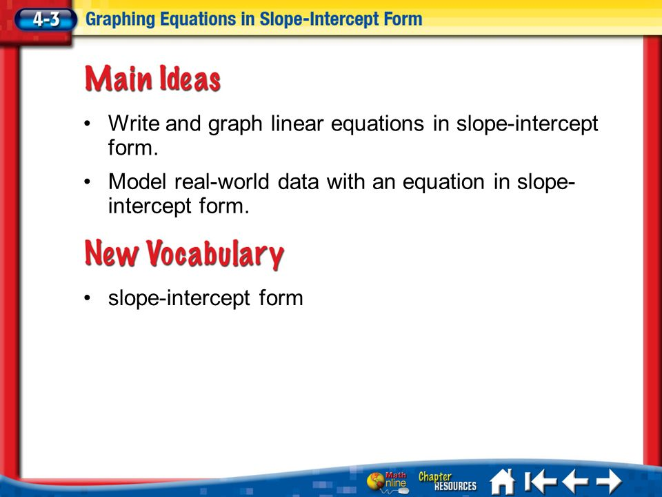 Write And Graph Linear Equations In Slope Intercept Form Ppt Download