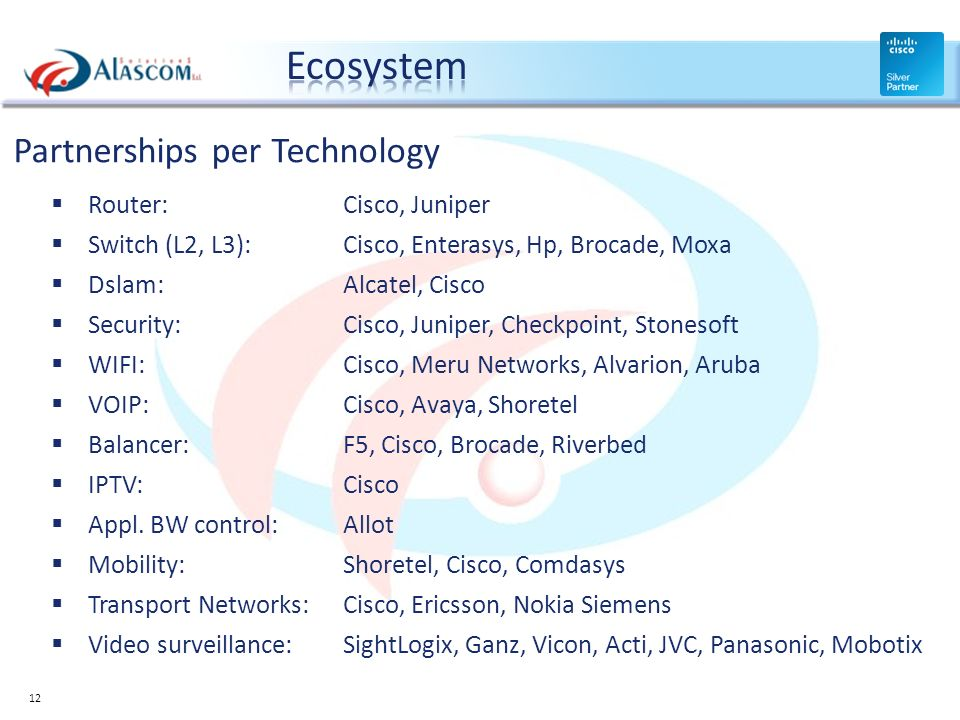 Ecosystem Partnerships per Technology Router: Cisco, Juniper