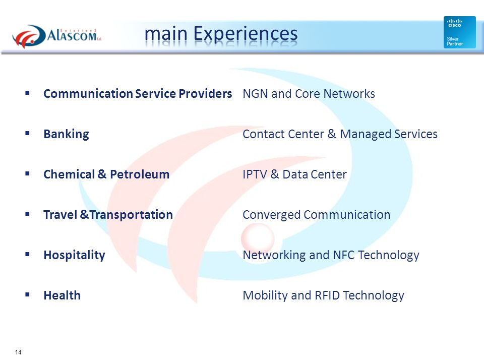 main Experiences Communication Service Providers NGN and Core Networks