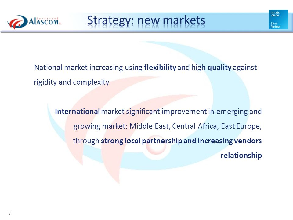 Strategy: new markets National market increasing using flexibility and high quality against rigidity and complexity.