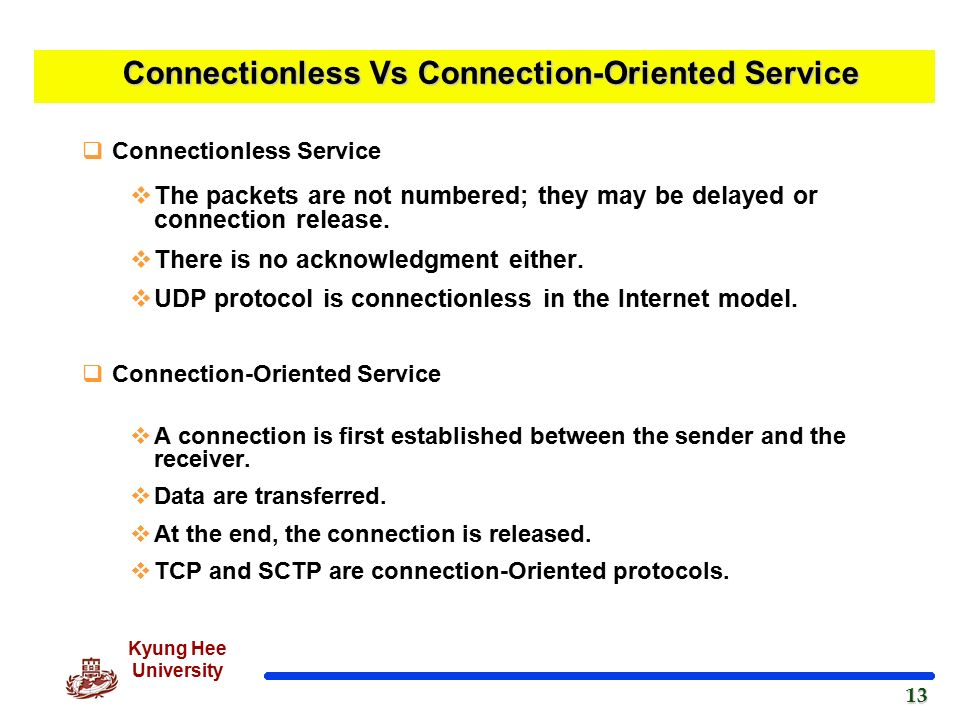 Compare connection-oriented & connection-less services.