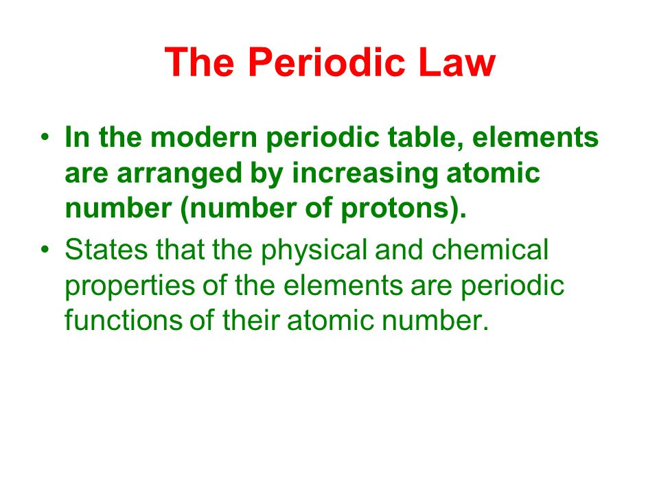 The modern periodic table ppt video online download the periodic law in the modern periodic table elements are arranged by increasing atomic number urtaz Choice Image