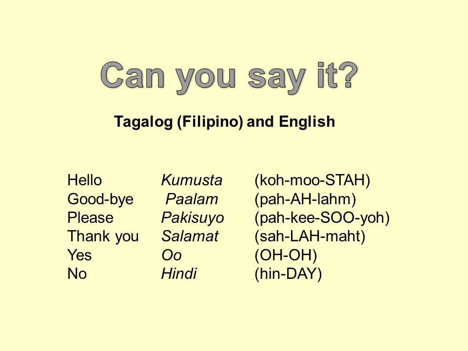 can you say it tagalog filipino and english