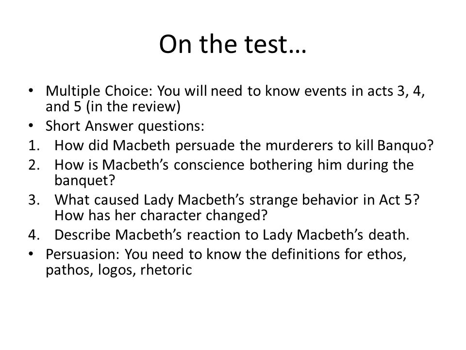 Macbeth Act 3 4 5 Review Ppt Video Online Download