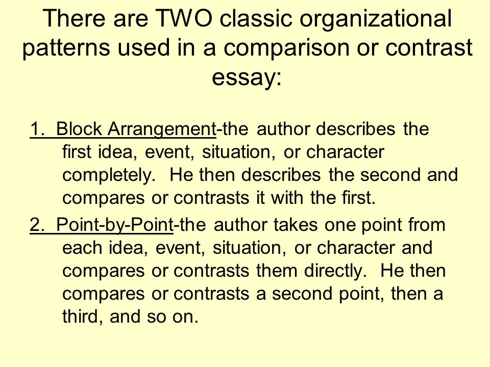organizational patterns for the comparison/contrast essay