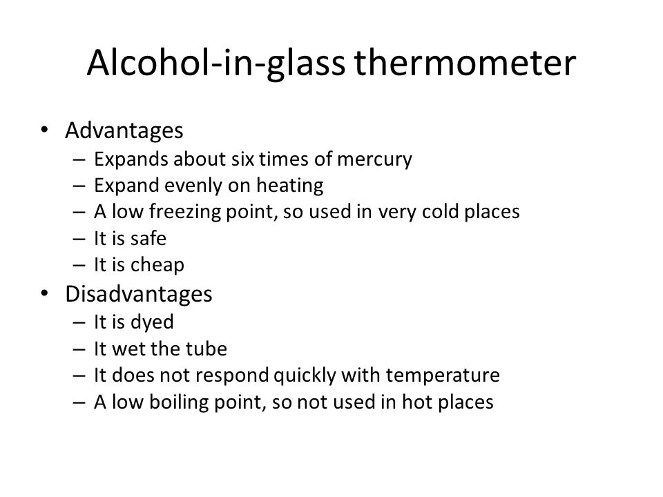 liquid in glass thermometer advantages and disadvantages