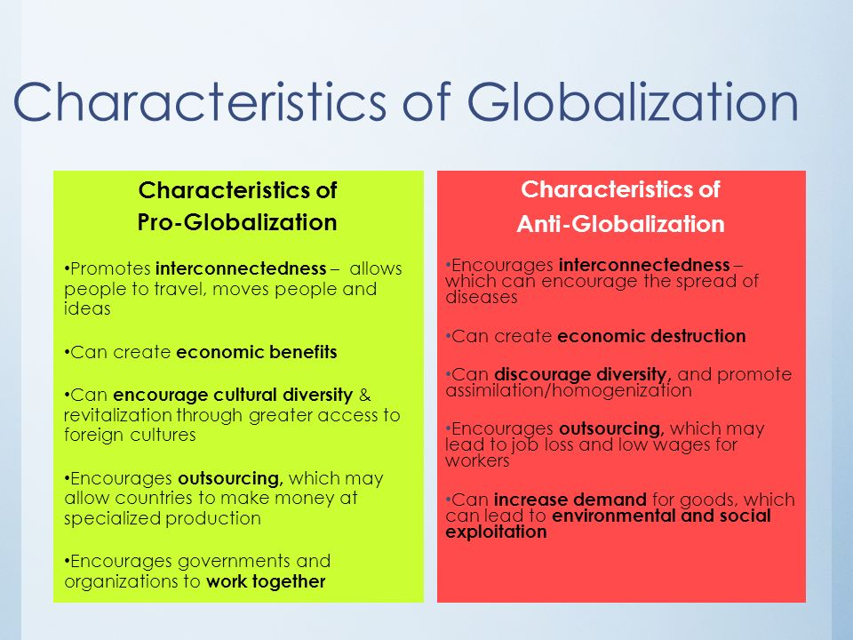 main features of globalisation